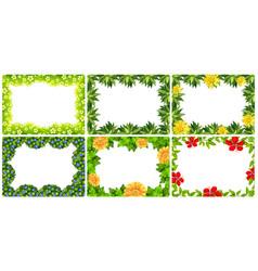 set of nature flower frame vector image