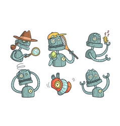 Set with metal robot with different emotions vector