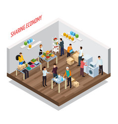 Sharing meetup isometric background vector