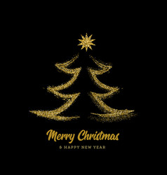 silhouette a christmas tree in form gold vector image