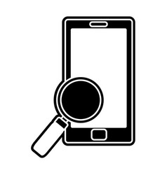 silhouette smartphone technology with magnifying vector image