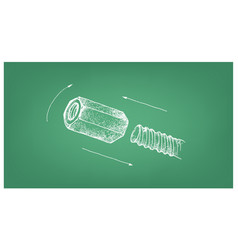Sketch of coupling nut and screw on blueprint vector