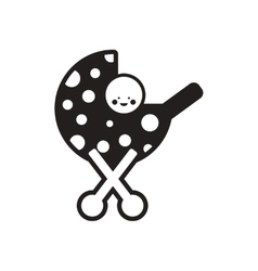 Stylish black and white icon baby in stroller vector