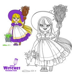 Sweet girl in witch costume holds a broom vector