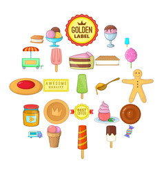 sweet icons set cartoon style vector image