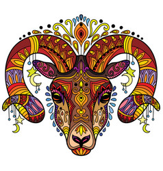 Tangle horned ram colorful isolated vector