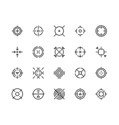 Target aim icons shooter game bullseye mark vector
