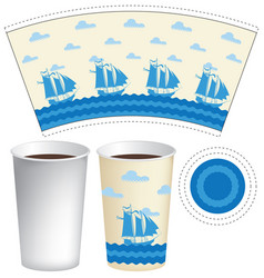template paper cup with sailing ships in the sea vector image