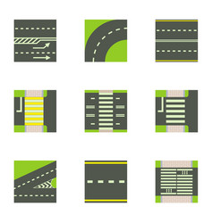 types of road icons set cartoon style vector image