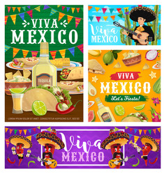 viva mexico banners fiesta party food and drink vector image