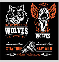 wolves patch - set vector image