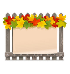wooden fence with maple leaves vector image