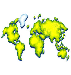 World map with green color on land vector