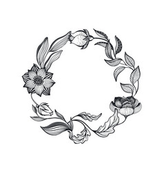 wreath doodle flowers and leaves vector image