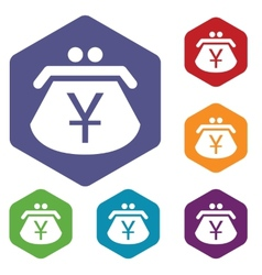 Yen purse rhombus icons vector
