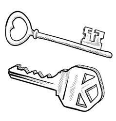 doodle keys vector image vector image