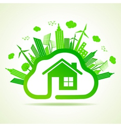 Ecology concept with eco clouds-cape and home vector image vector image