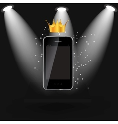Mobile phone on black shelve background vector image