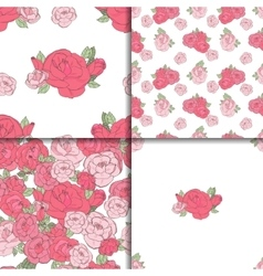 Set of four seamless floral patterns vector image
