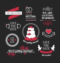 Wedding stamps mini set vector image vector image