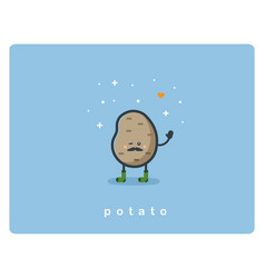 flat potato icon food cartoon cute character vector image