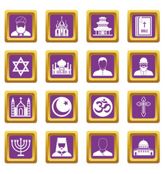 religious symbol icons set purple vector image vector image