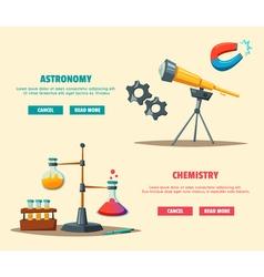 Set of science logo cartoon education theme vector