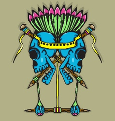 Skull Totem with vibrant color vector image vector image