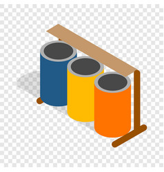Three colorful selective trash cans isometric icon vector
