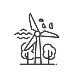 Windmill - modern single line icon vector