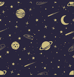astronomic seamless pattern vector image vector image