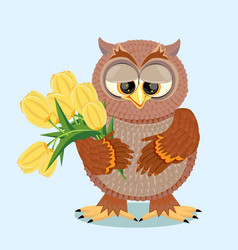 brown owl with big eyes holding a bouquet vector image