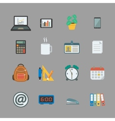 Business collection of office supplies vector image vector image