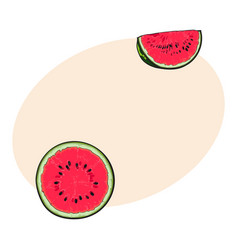half and quarter of ripe red watermelon with black vector image vector image