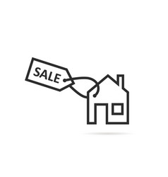 thin line black house icon for sale or rent vector image
