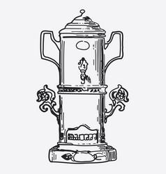 vintage tea pot engraving ephemeral vector image vector image