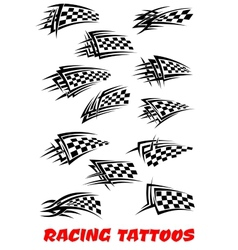 Checkered flags tattoos vector image