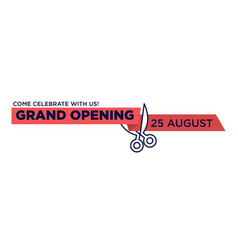 grand opening red ribbon cut with scissors cutting vector image vector image