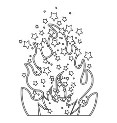 Grayscale contour of olympic flame with stars vector