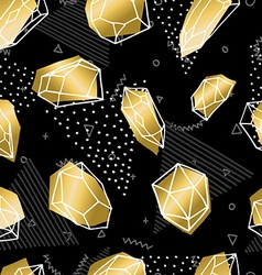 Hand drawn diamond rock seamless pattern in gold vector image vector image