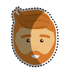 Handsome man with beard and hairstyle design vector