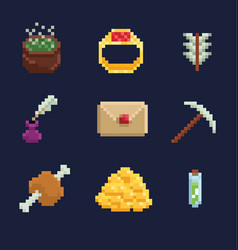 pixel art icons for fantasy vector image vector image