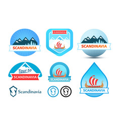 set of logos and emblem for travel to scandinavia vector image vector image
