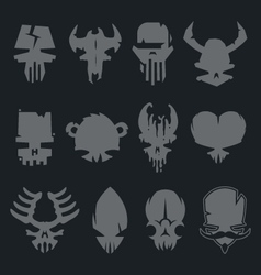set of scary monsters skull characters vector image vector image