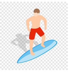 surfer man on surfboard isometric icon vector image