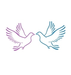 White Doves as concept Love or Peace Abstract vector image