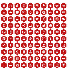 100 tea time food icons hexagon red vector