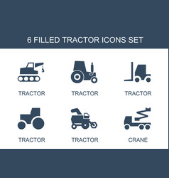 6 tractor icons vector