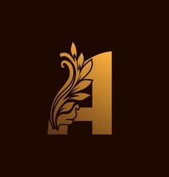 A alphabet abstract floral logo element vector
