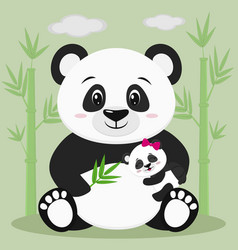 a sweet panda sits and holds a baby with a pink vector image